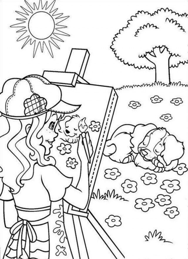 Holly Hobbie Painting Dog Coloring Page Coloringplus 192127 Holly