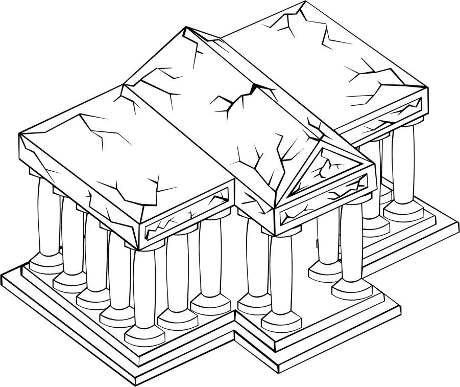 roman temples Colouring Pages