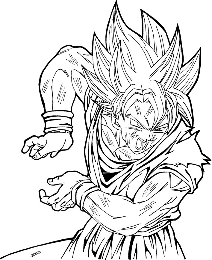 Goku super saiyan coloring pages az coloring pages for Super saiyan coloring pages