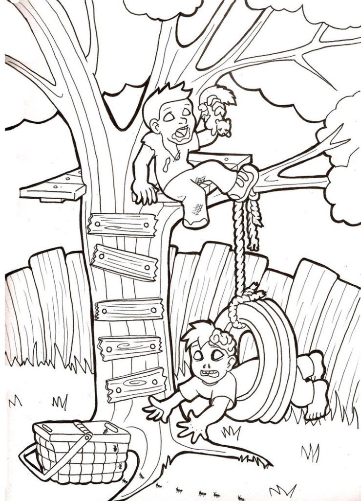 Zombie Babies Swing Coloring Pages : New Coloring Pages