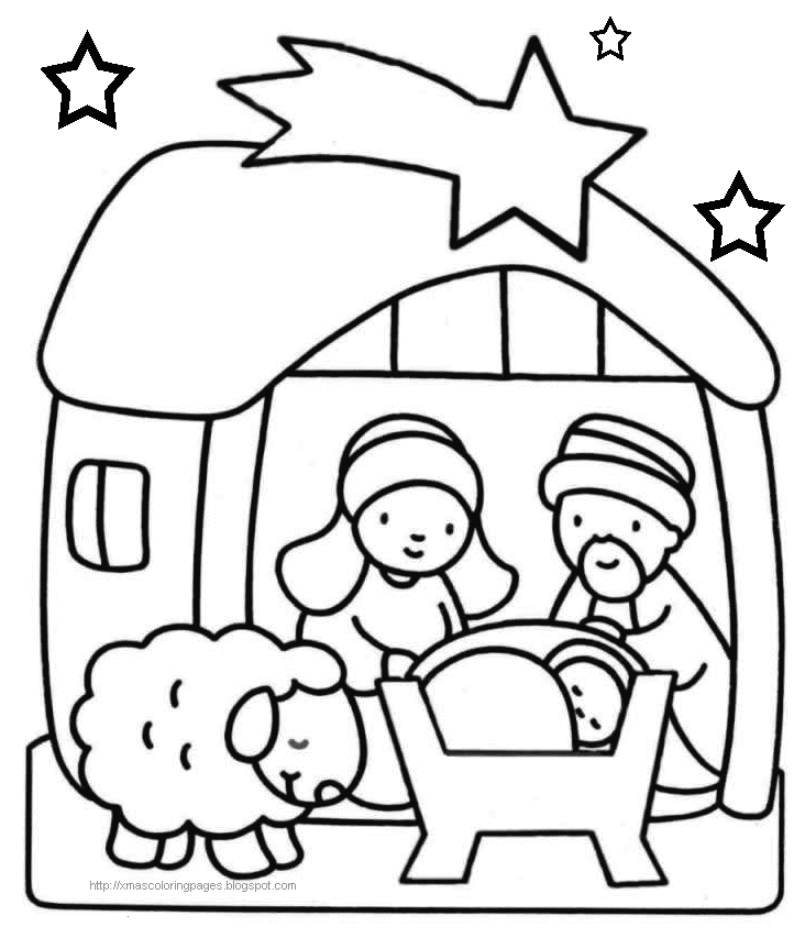 Xmas Coloring Baby Jesus Nativity Coloring Pages - 69ColoringPages.com