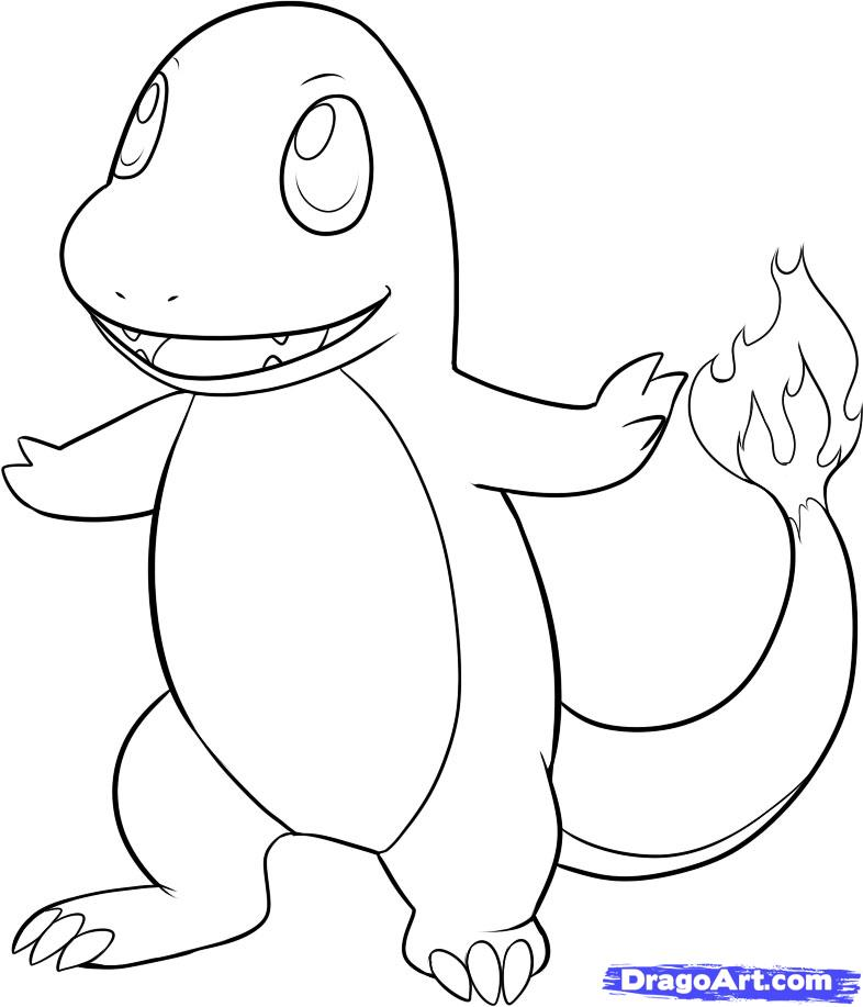 Coloring Pages To Draw : How to draw charmander step by pokemon characters