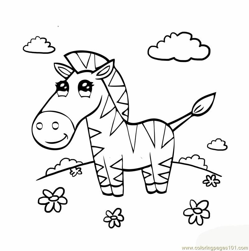 Coloring Pages Cute Zebra Mammals
