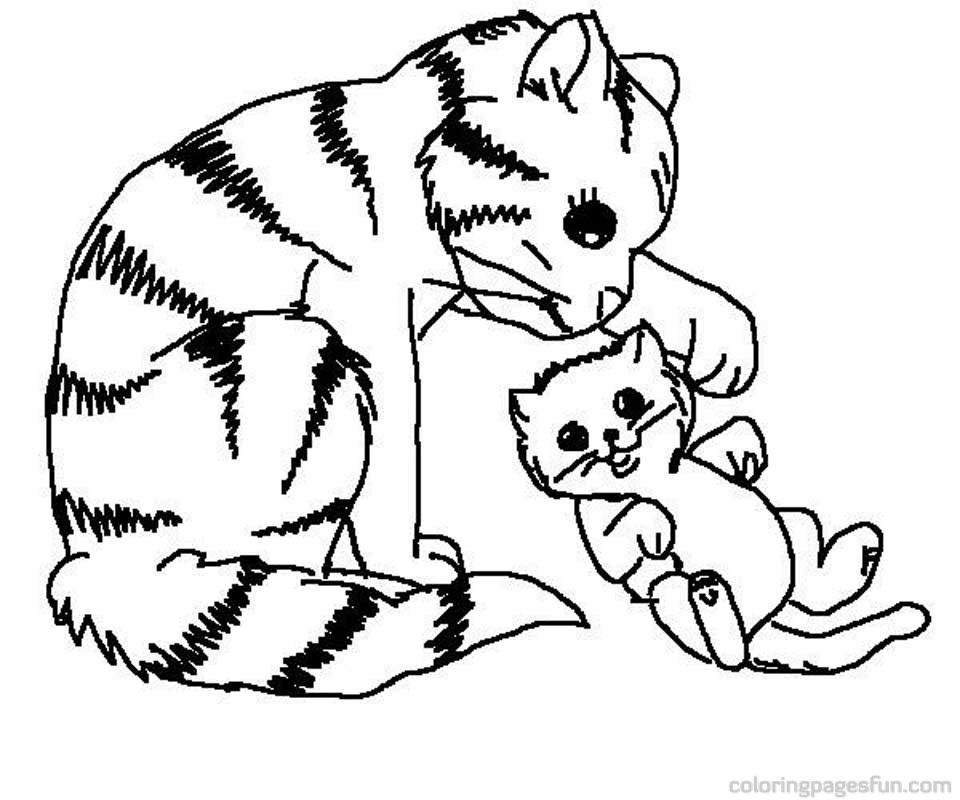 - Cat And Kitten Coloring Page - Coloring Home