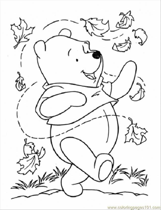 Coloring Pages Pooh And Leaves (Cartoons > Winnie The Pooh) - free