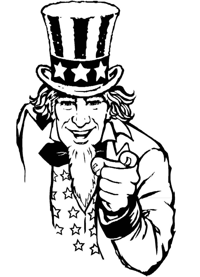 Uncle Sam In Fourth Of July Uncle Sam Coloring Pages