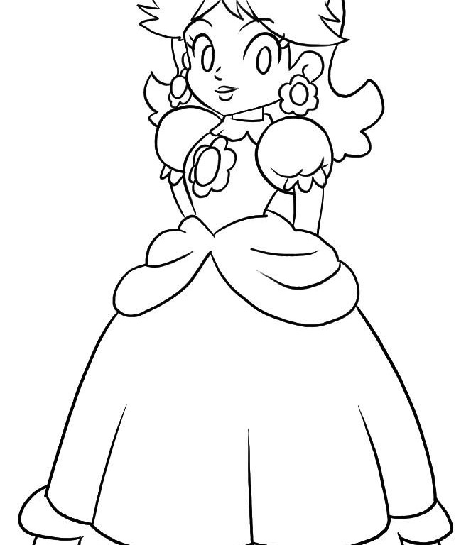 Princess peach coloring pages free for Free printable princess peach coloring pages