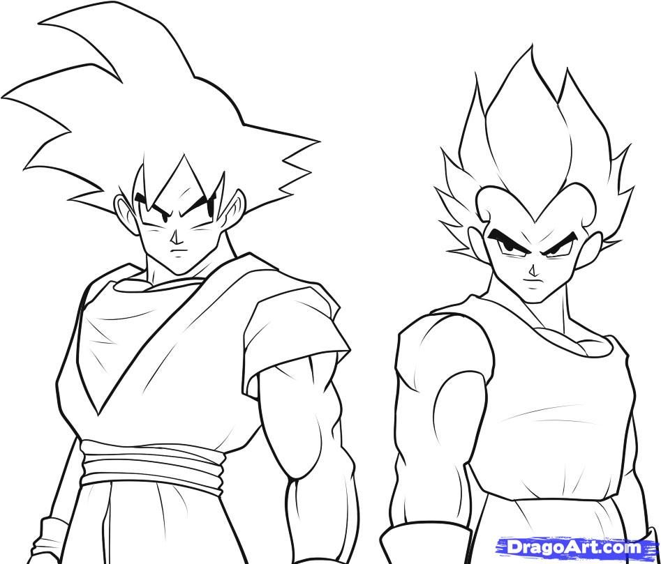 How to Draw Goku and Vegeta, Step by Step, Dragon Ball Z