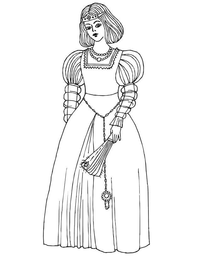 Renaissance Princess Coloring Pages : Medieval princess coloring pages az