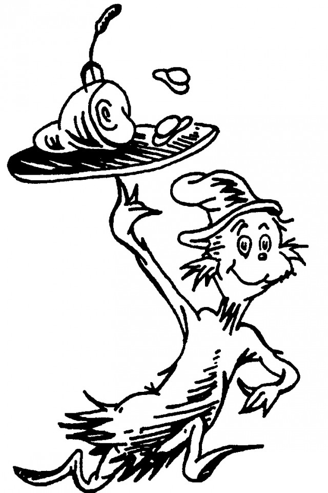 Cat In The Hat Hat Coloring Pages