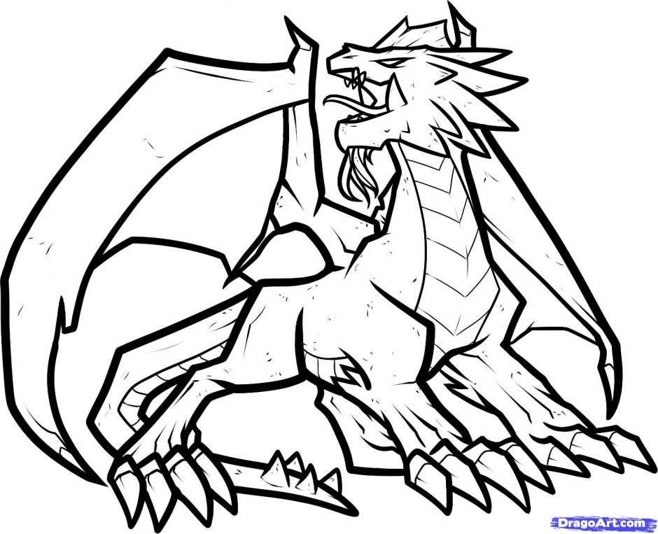 Coloring Pages Dragons : Cool dragon coloring pages az