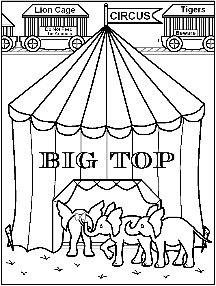 Circus free colouring pages for Printable circus coloring pages