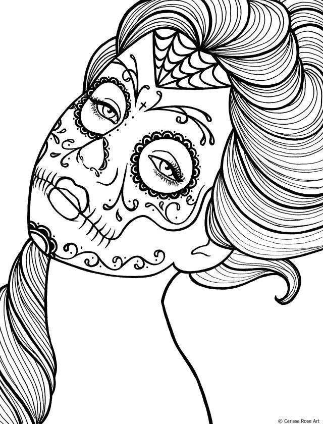 Viewing Gallery For Day Of The Dead Skeleton Coloring Pages 84258
