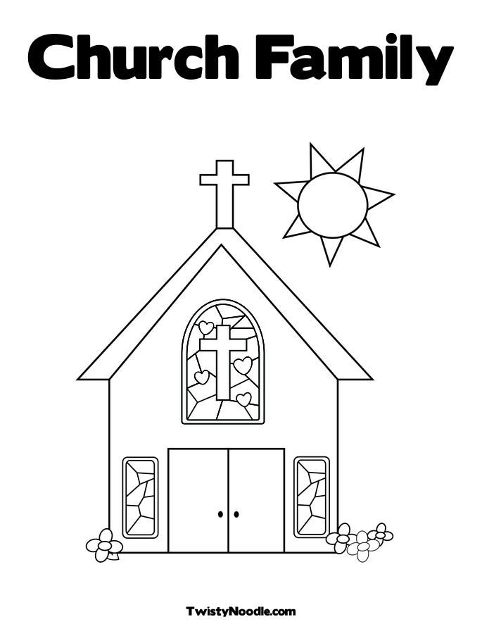 family at the church Colouring Pages