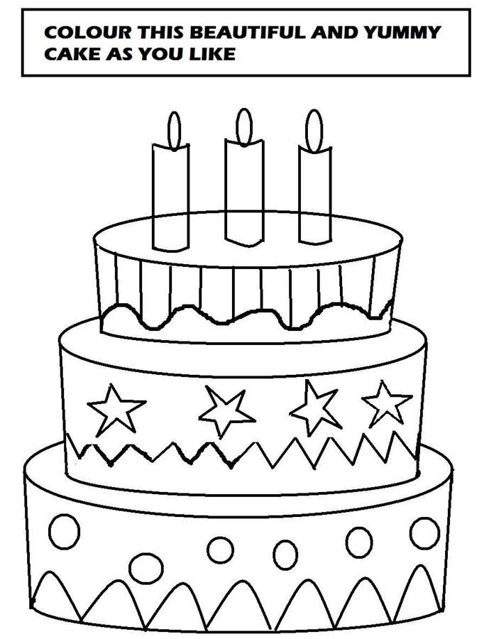Cake Images For Colouring : Beautiful cake coloring printable page for kids ...