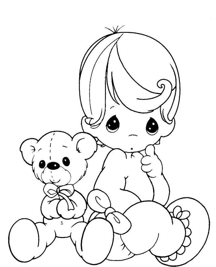 baby boy clip art coloring pages - photo #12