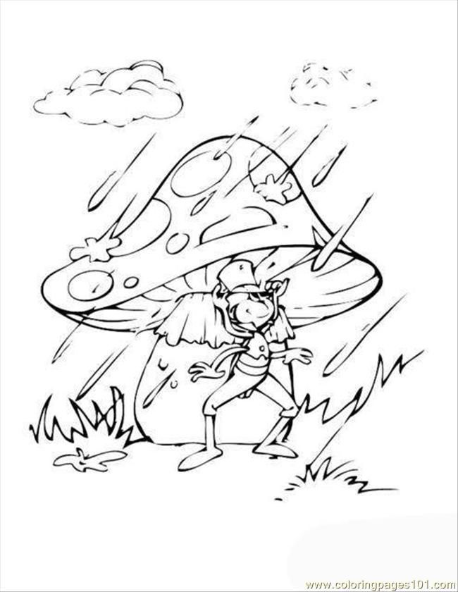 Coloring Pages Cricket Tophat Rain Mushroom (Animals > Insects