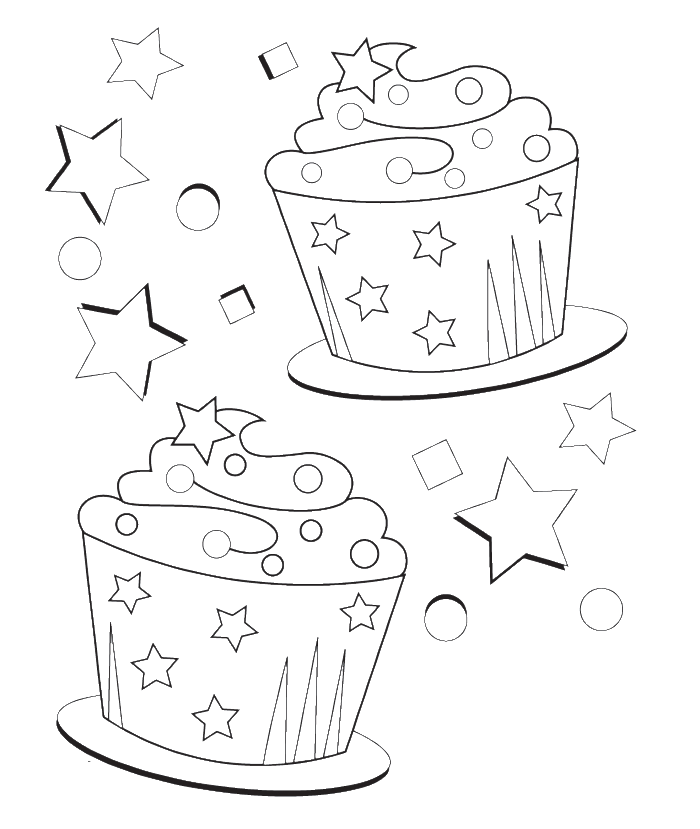 Cupcake candle coloring page for Birthday cupcake coloring page