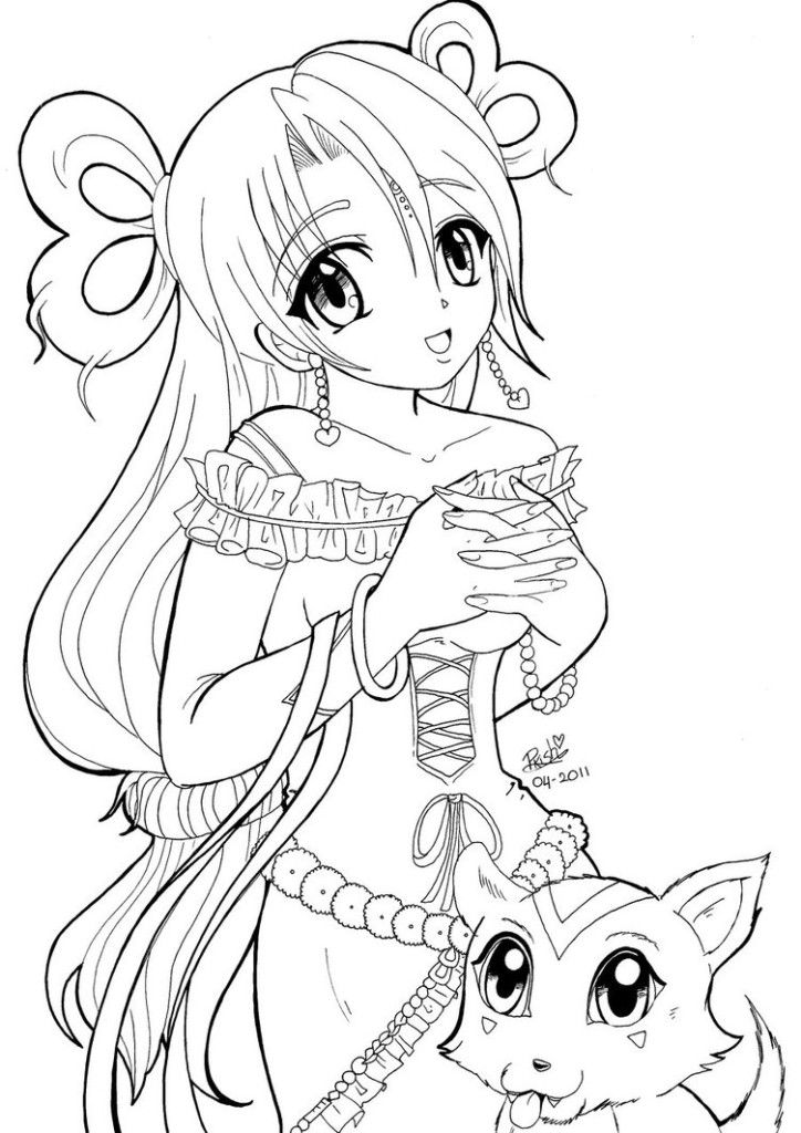 Line Art For Coloring : Anime line art coloring pages home