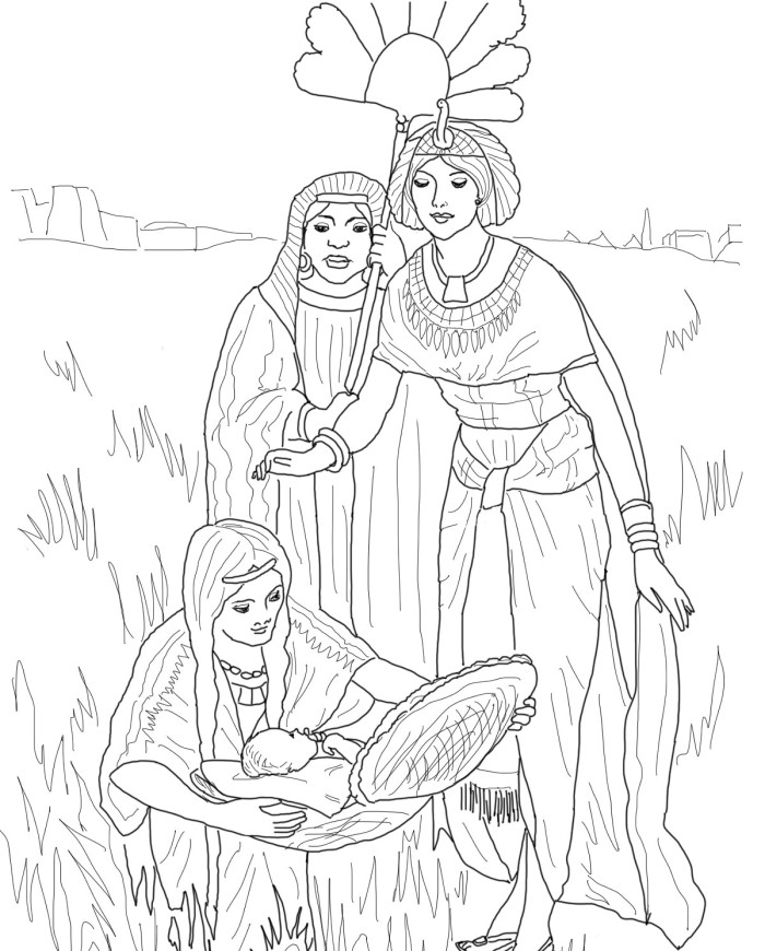 moses in bulrushes coloring pages - photo#4
