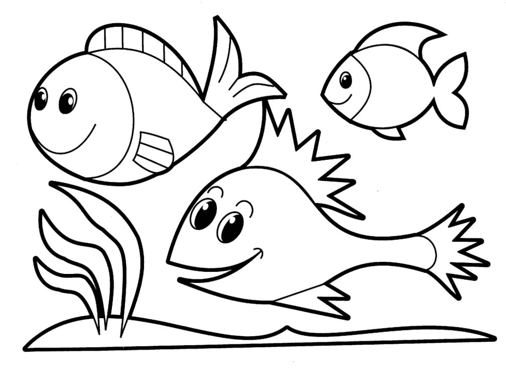 Simple fish outline az coloring pages for Simple fish coloring page