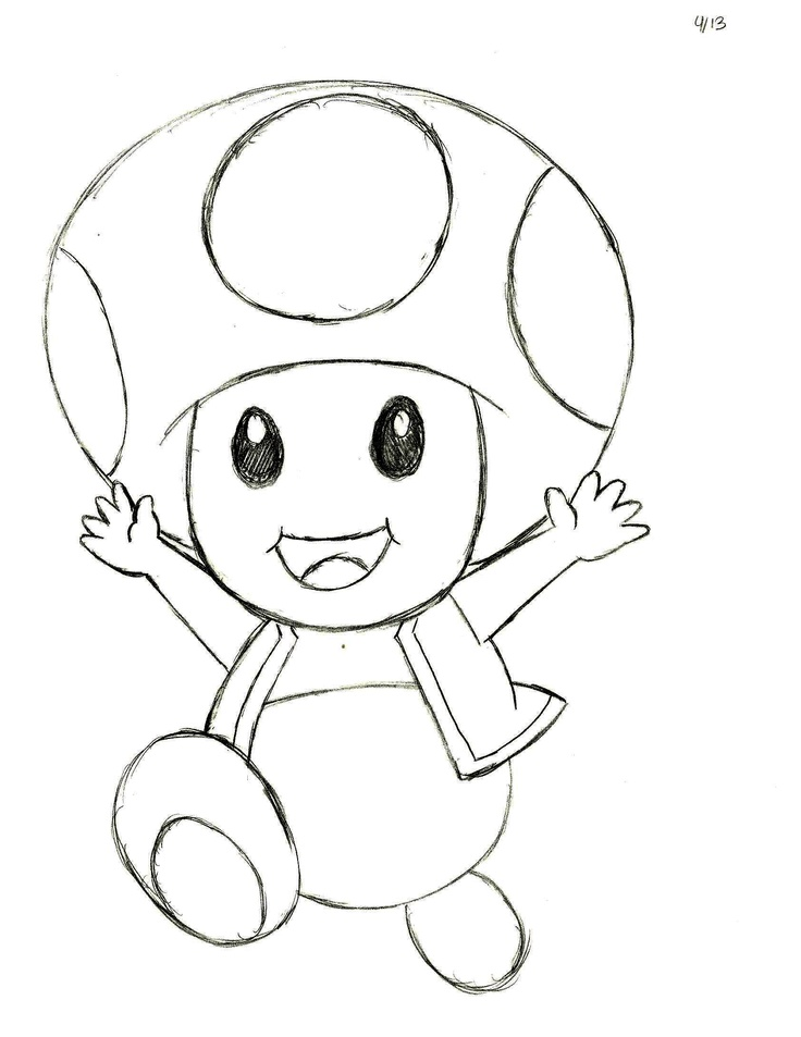 Mario toad coloring page the image kid for Toad and toadette coloring pages
