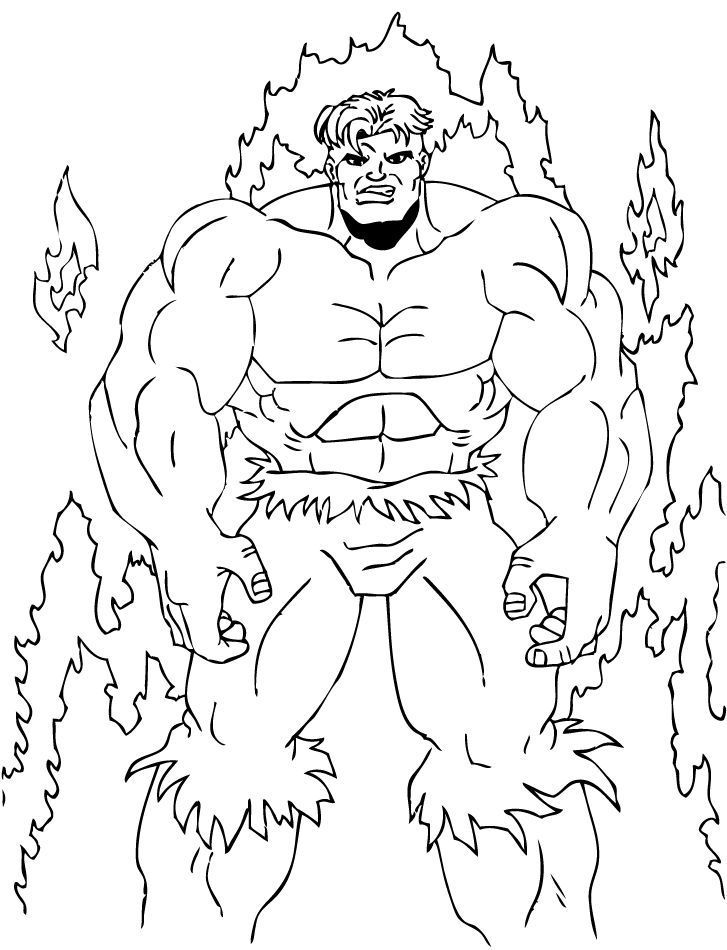 THE INCREDIBLE HULK Coloring Pages - Hulk In The Fire - Coloring Home
