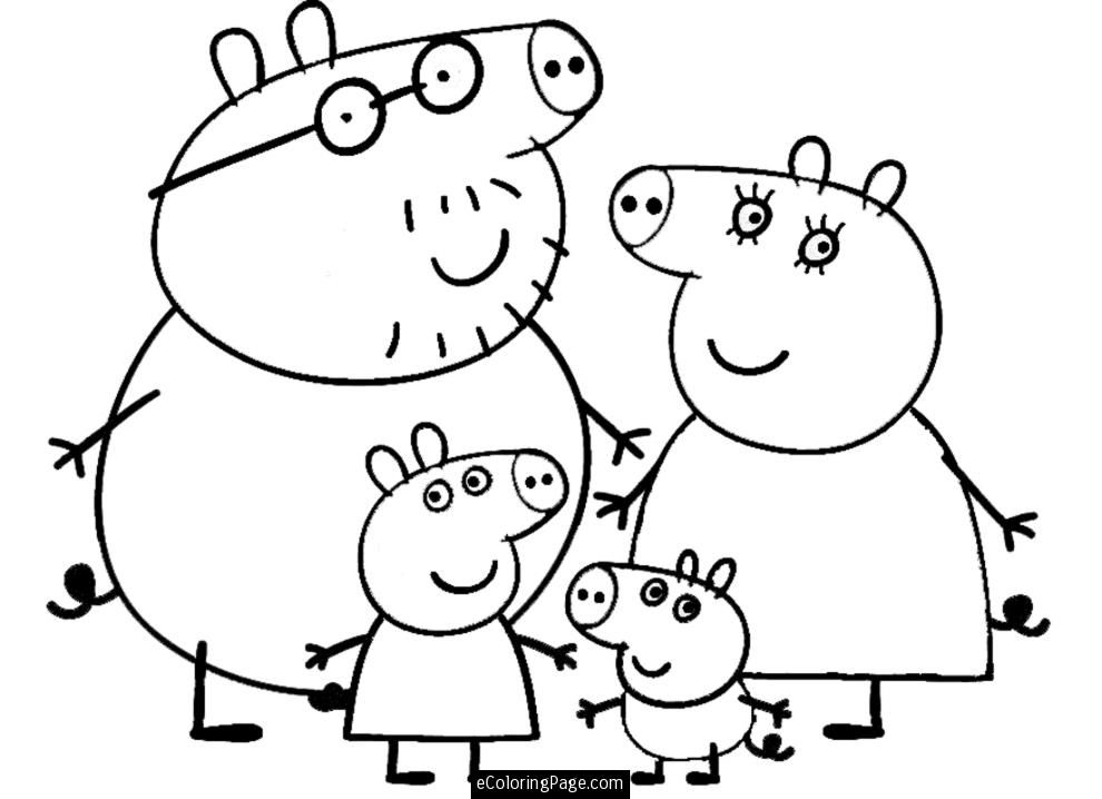 Peppa pig drawing coloring home peppa pig and family colouring pages maxwellsz