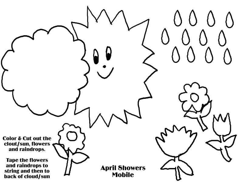 April Coloring Pages For Toddlers : April showers mobile free coloring pages for kids