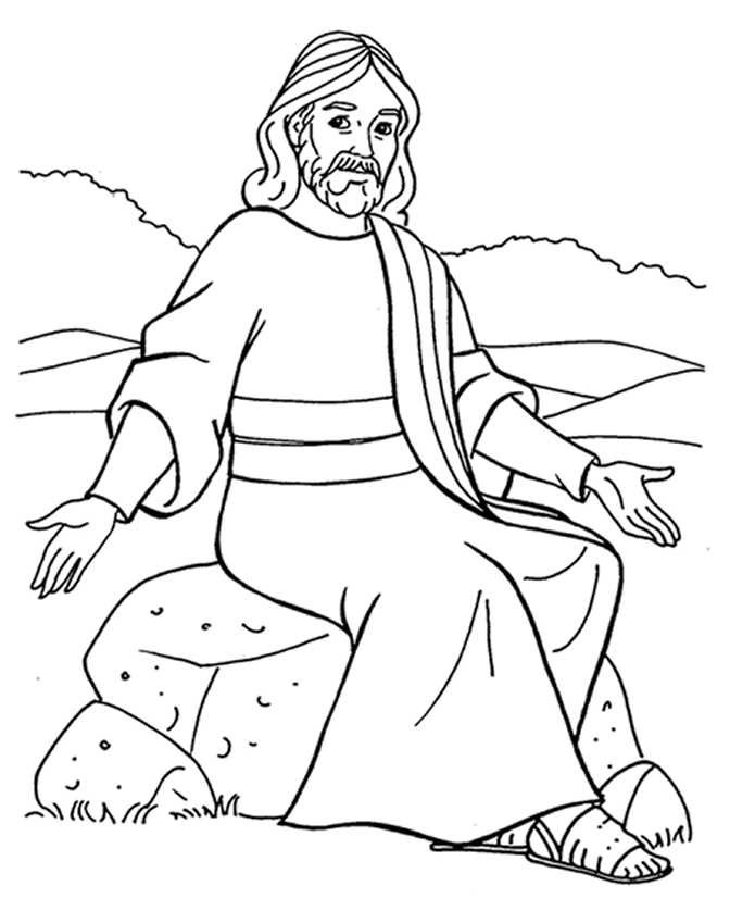 coloring pages of jesus teaching - photo#4