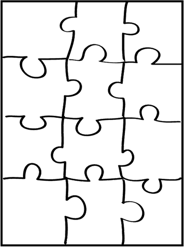 Coloring cut out puzzle coloring pages for Puzzle cut out template