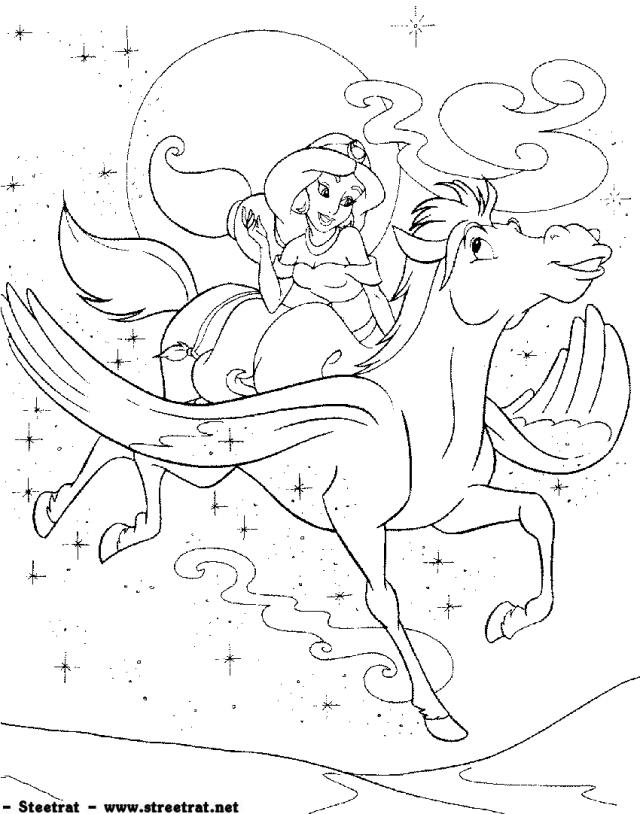Princess Jasmin And Pegasus Flying Horse Coloring Page  Coloring Home
