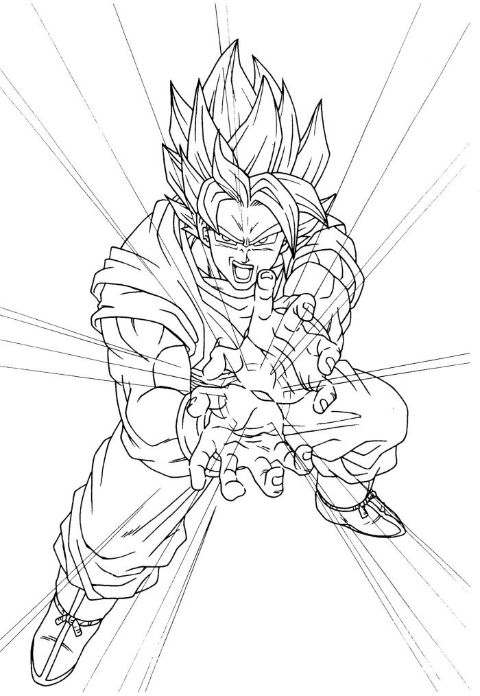 Dbz goku kamehameha coloring pages for Dbz coloring pages goku