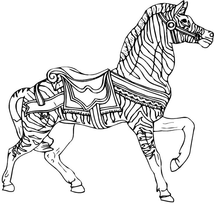 Line Drawing Zebra : Carousel line drawing zebra springboard art coloring home
