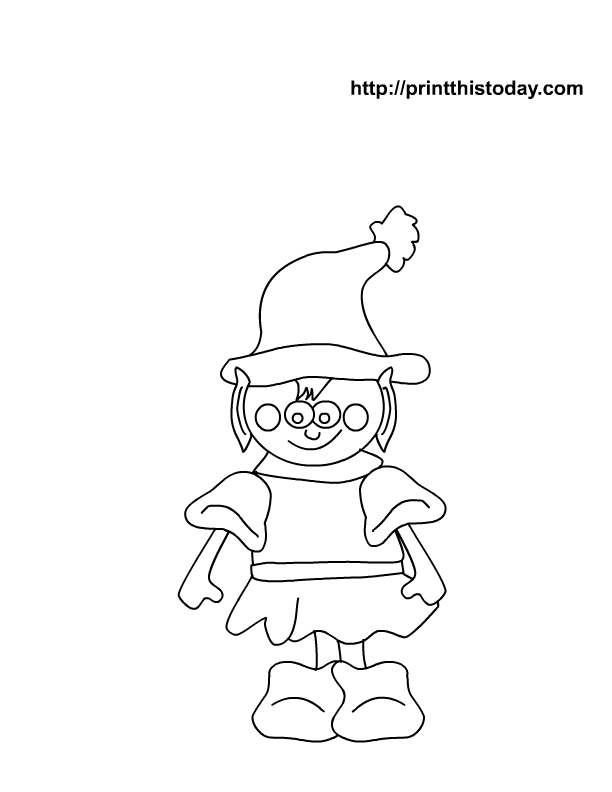 Free Printable Christmas Coloring page with elf | Print This Today