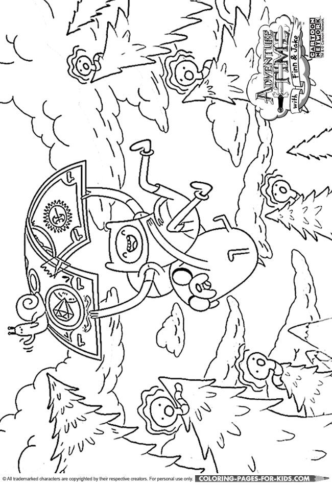 adventure time coloring page for kids finn and jake