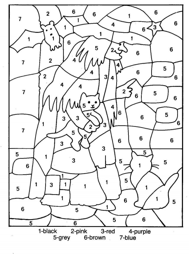 Halloween witch color by numbers coloring page az for Halloween coloring pages color by number