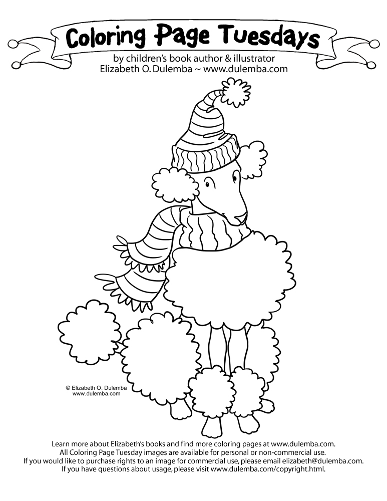 dulemba: Coloring Page Tuesdays - Poodle!