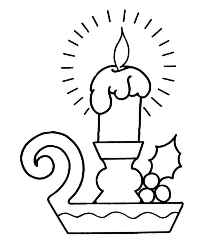 Download Christmas Candle Merry Christmas Coloring Page ...