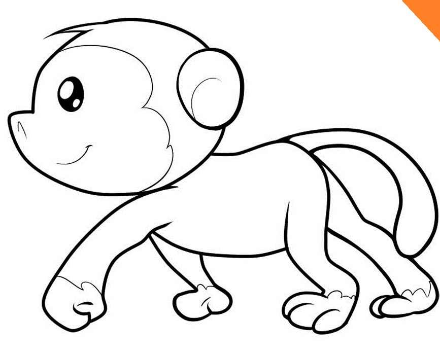 Monkey Walking Coloring Pages