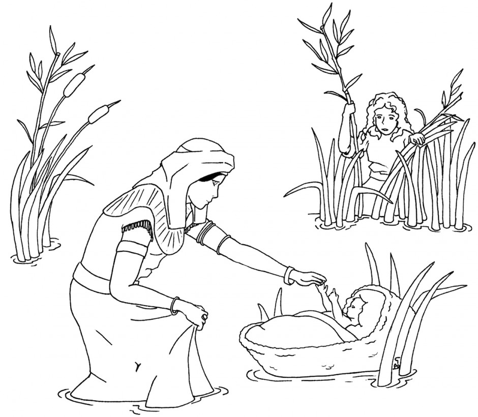 moses in bulrushes coloring pages - photo#13
