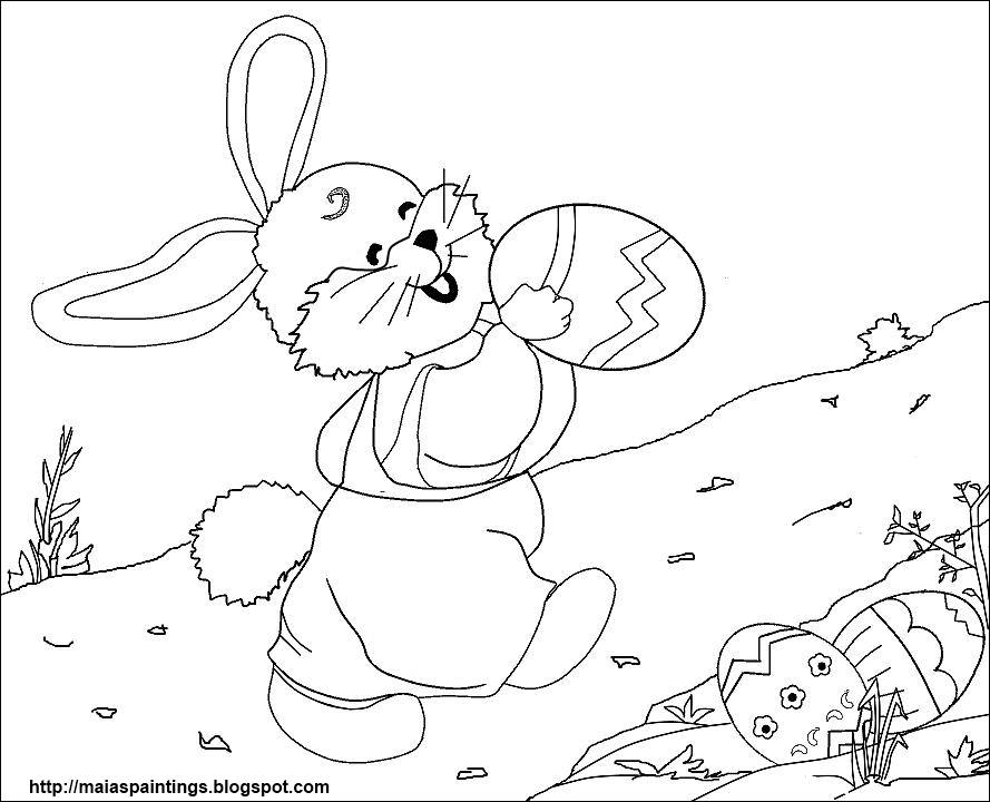 Easter Bunny and Basket of Easter Eggs - Coloring Page (Easter) | 720x889