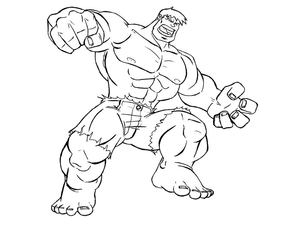 Free Coloring Pages Of Drawings Hulk