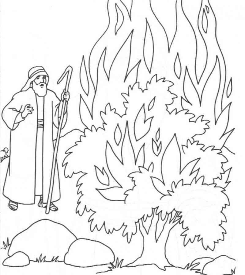 Moses And Burning Bush Coloring Page Hd Printable Coloring Pages Coloring Home
