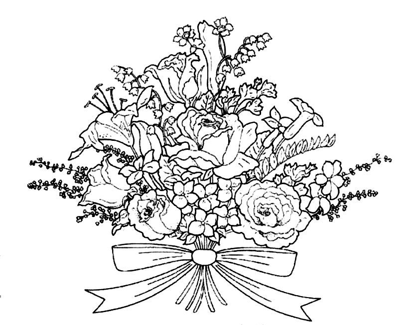 Bouquet Of Flowers Coloring Pages Coloring Home