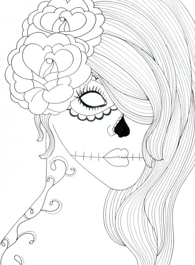 Skull coloring pages for teenagers coloring pages for Skulls coloring pages