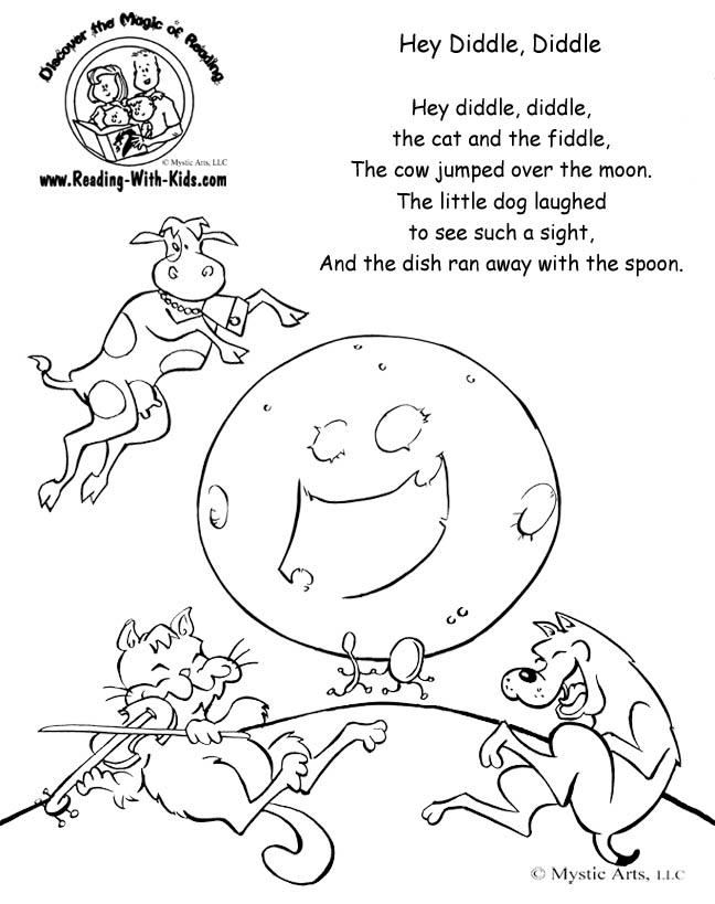 Hey Diddle Diddle Coloring Pages Az Coloring Pages Rhyming Coloring Pages