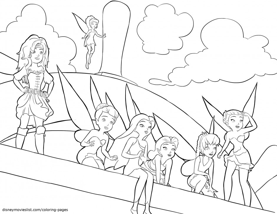 Pirate Fairies Sailing Coloring Page Silvermist Rosetta Fawn Id