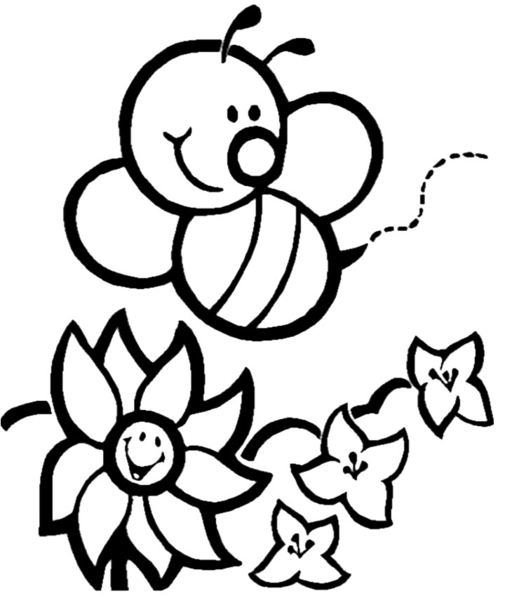 Small Printable Bee Coloring Pages