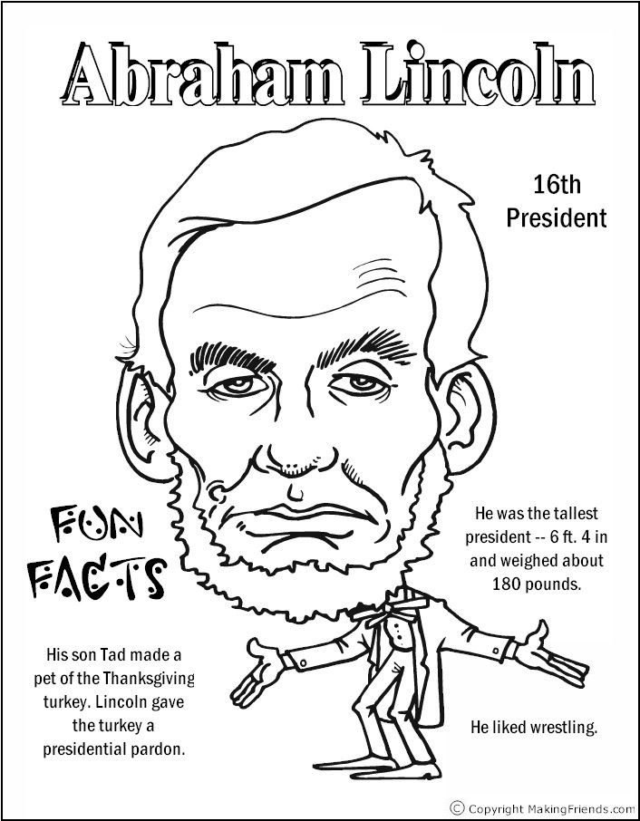 Abraham Lincoln Coloring Pages Pdf : Abraham lincoln coloring page home